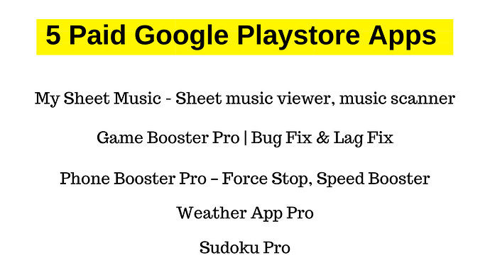 5 Paid Google Playstore Apps